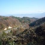 赤留峠から会津盆地を望む