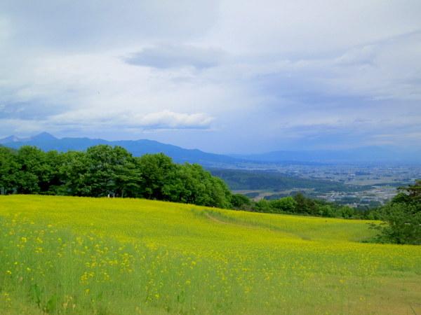 左に磐梯山、右に会津盆地
